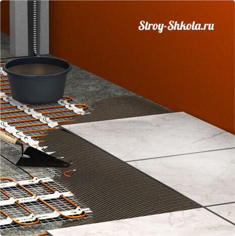 Пример укладки плитки на нагревательный пол