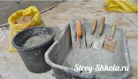 Рис. 3 Всё, что необходимо для замешивания цементного раствора