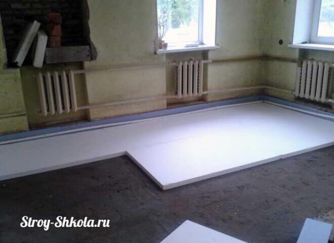 Рис. 6 Укладка пенопласта на подготовленную поверхность в небольшом помещении