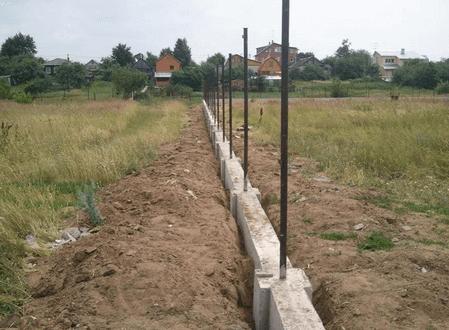 Ленточный фундамент под кирпичный забор.