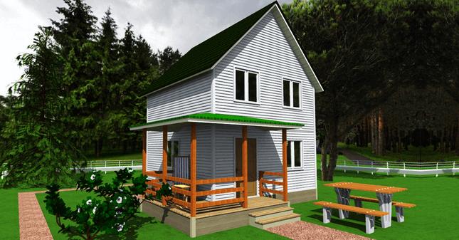 Эскиз двухэтажного дачного домика с открытой террасой и мансардой.