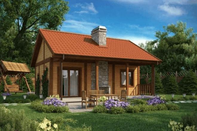 Опишем процесс строительства вот этого деревянного дачного домика.