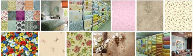 Разнообразие расцветок бумажных обоев.