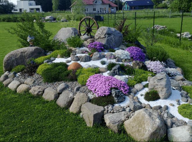 Альпийская горка из цветов своими руками фото