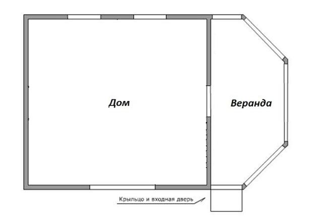 Чаще всего веранду пристраивают к одной из стен дома, так что сооружать придется только три стены.