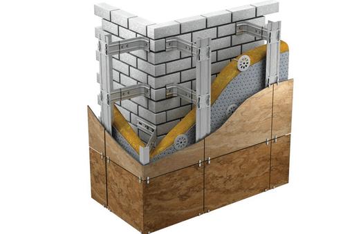 Обычный каркас для монтажа легкого вентилируемого фасада.