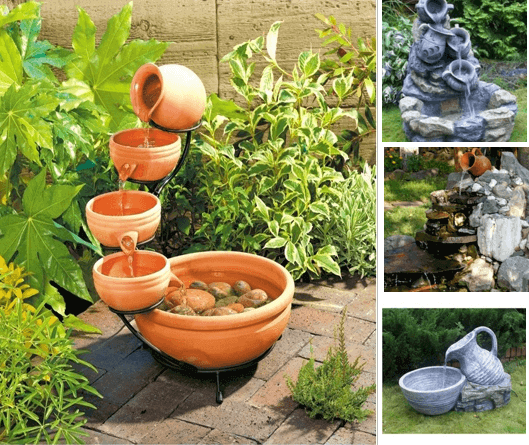 Варианты фонтанов с использованием принципа переливания воды из сосуда в сосуд.