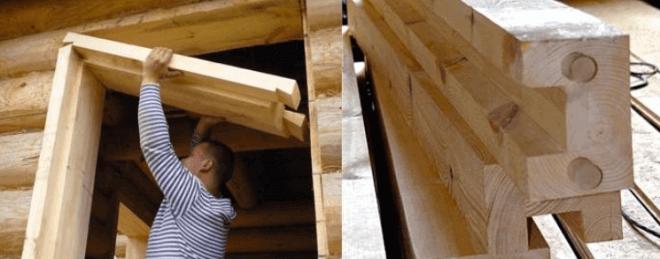 Сооружение окосячки в оконном проеме деревянной стены.