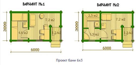 Варианты планировок бани 6Х3 м.