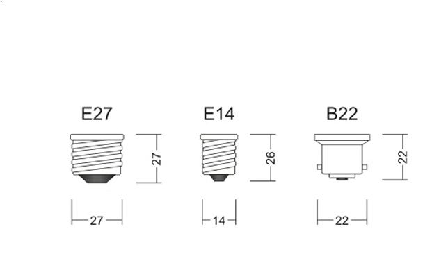 Размеры резьбовых цоколей