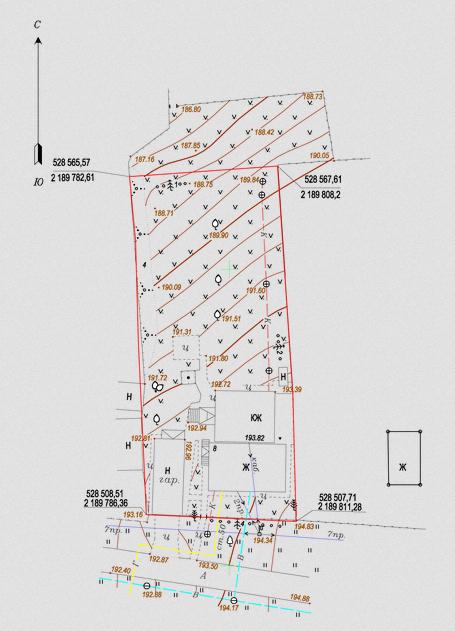 Профессионально выполненный топографический план участка с геодезическим данными на нем