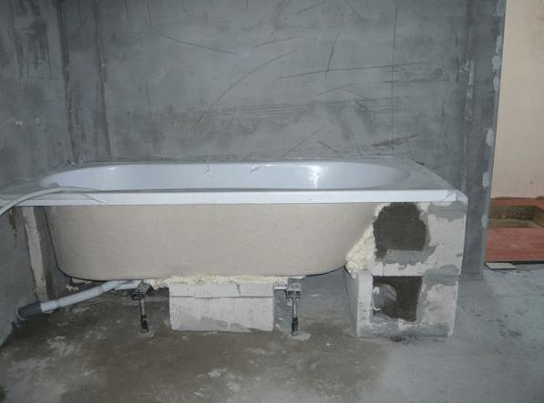 Ванна, установленная на твердую опору