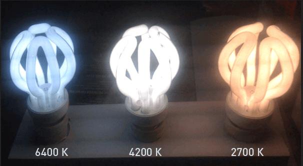 Различные по спектру света лампы