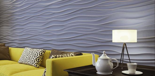 Дизайн комнаты с 3 D панелями