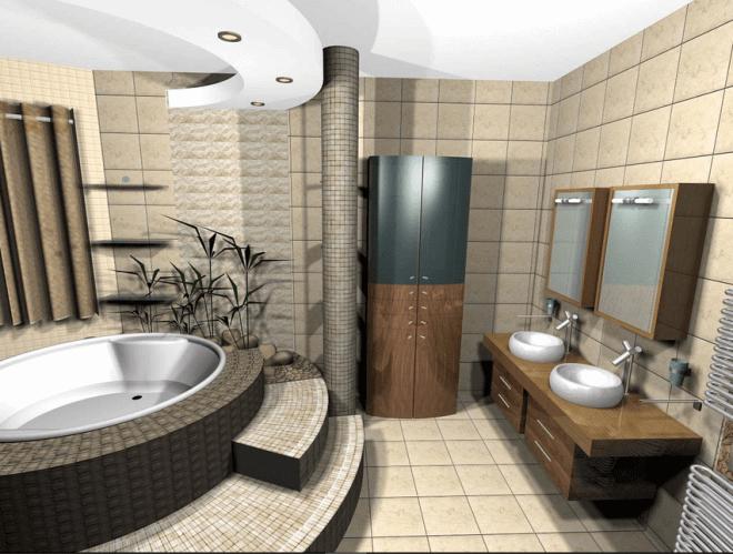 Красивый многоступенчатый подиум под ванну
