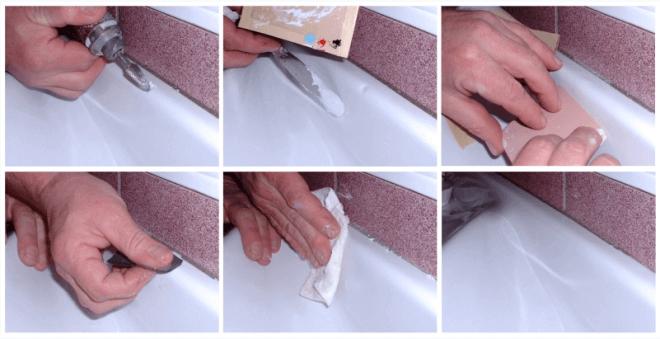 Основные шаги процесса реставрации ванны эмалью