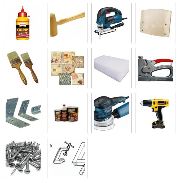 Инструменты и материалы для реставрации стульев