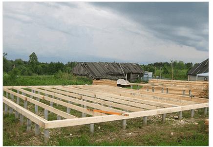 Свайный фундамент, обвязанный брусом – оптимальное решение под каркасный дом