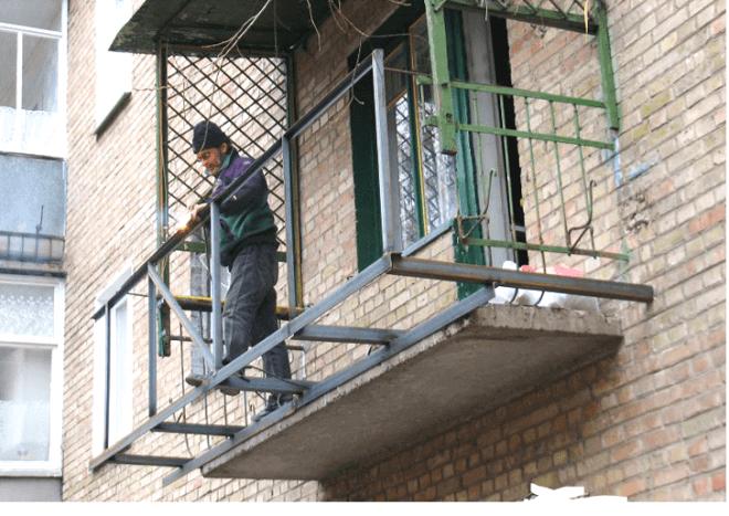 Сварка каркаса для балкона с выносом
