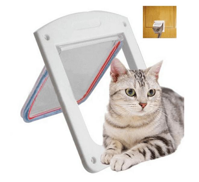 Дверца для кошки в форме окошка имеет створку на шарнире