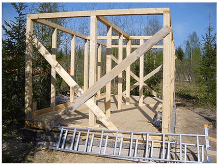 Готовый каркас дома для монтажа стен