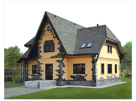 Каркасный дом может иметь очень привлекательный внешний вид при достаточно либеральной цене