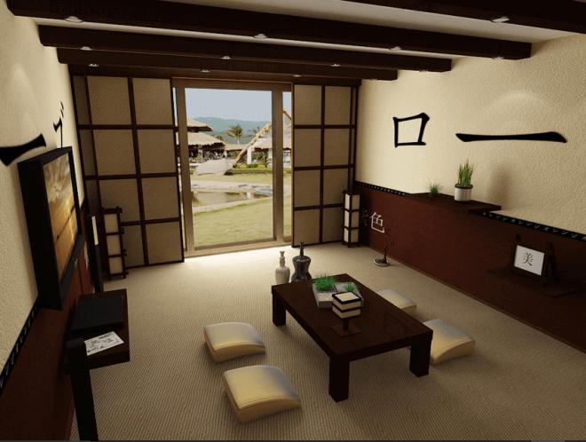 Японская стилистика на примере оформления гостиной