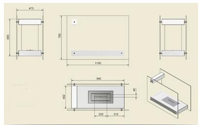 Примерная схема устройства биокамина с размерами в различных проекциях