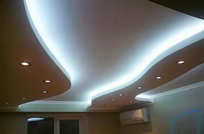 Двухуровневые потолочный короб из гипсокартона с подсветкой