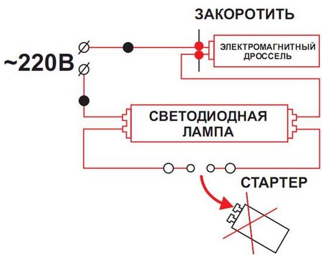 Посмотрите, как подключить светодиодную лампу т8 к 220в.