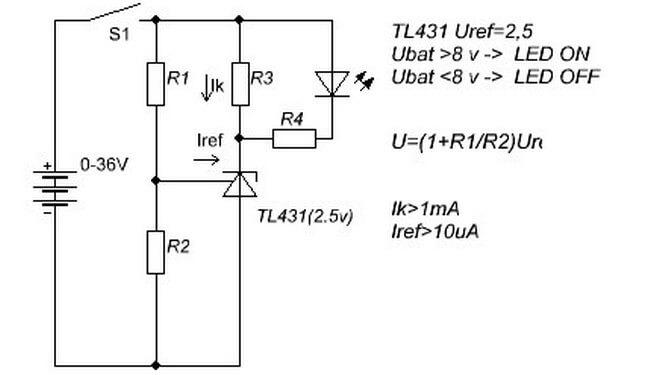 Схема включения tl431a.